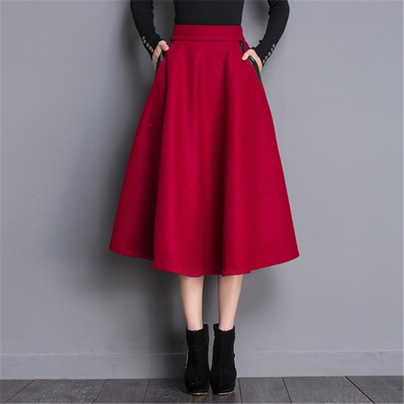 2017 Automne Élastique Taille Haute Jupe Plaid Longue De Laine Jupes femmes PU Patchwork Poches Hiver Chaud Vintage Ol Une Ligne jupes