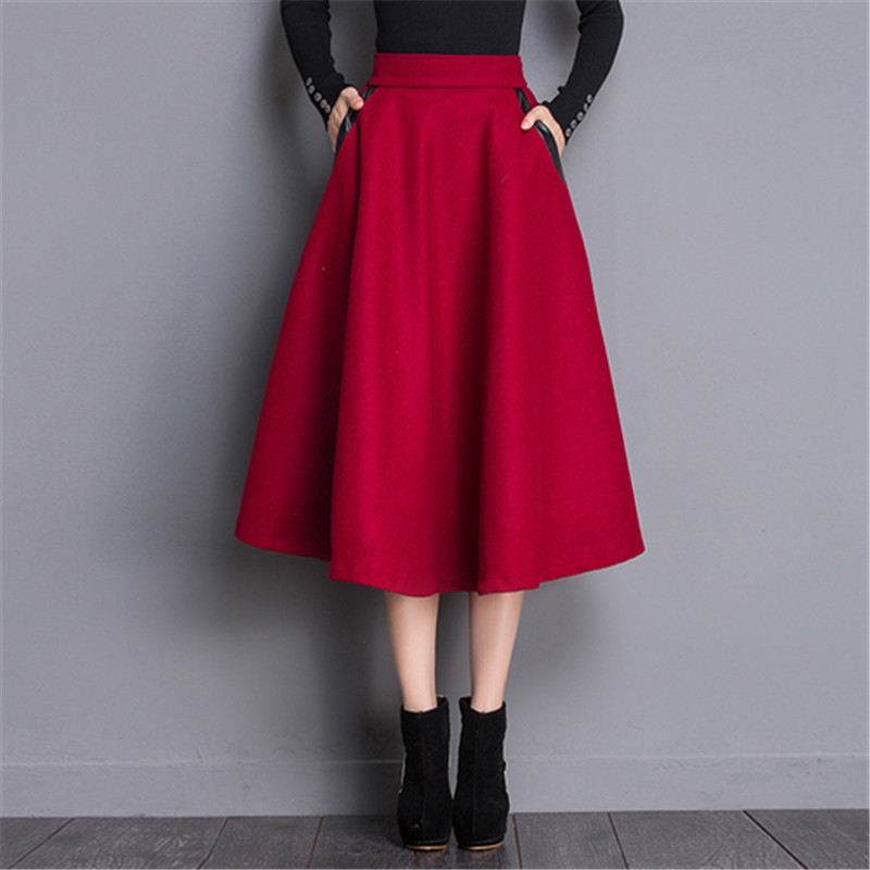 2017 Autumn Elastic High Waist Skirt Plaid Long Woolen Skirts Women PU Patchwork Pockets Winter Warm Vintage Ol A Line Skirts