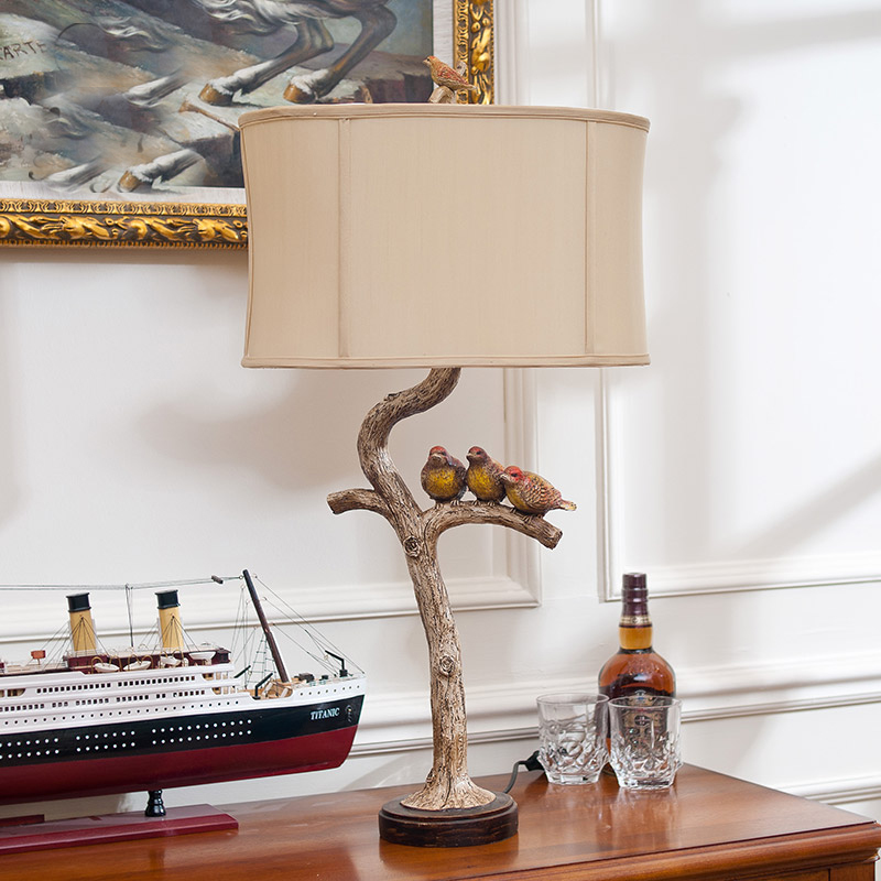 Table Lamp Suppliers: Novelty Lamps Resin Bird on branch Table Lamps for Bedroom Modern Table  Light for Living Room,Lighting
