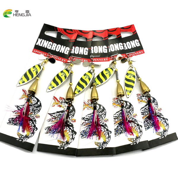 HENGJIA 5PCS Long Cast are deep running spinners Bait Fishing Lure Fishing Tackle Artificial Hard Fake Fish Metal Lures 8.7g