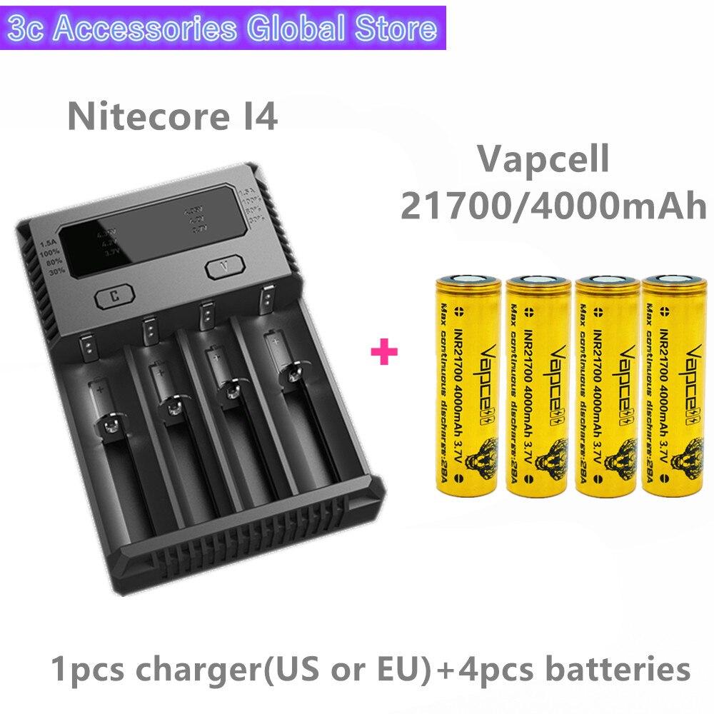 Vapcell 4 pièces INR 21700 4000 mAh 28A li-ion batterie rechargeable avec Nitecore nouveau I4 Digi chargeur LCD Intelligent pour E-CIG de fumée