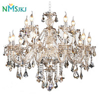 Luxury Modern Cognac Color Classic Home Decoration Lighting Indoor Lamp K9 Crystal Lustres Chandelier for Living Room Restaurant