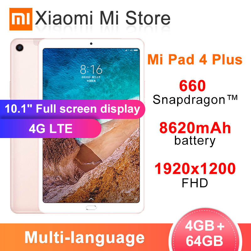 Xiaomi Mi Pad 4 Plus 4GB 64GB Snapdragon 660 MiPad 4 Plus LTE 8620mAh Battery 10.1'' 16:10 1920x1200 FHD Display 13MP Tablets 4(China)