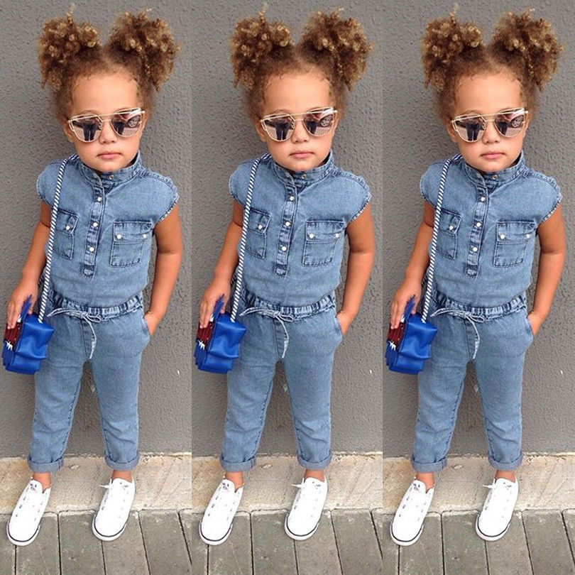 Toddler Kids Baby Girls Denim Sleeveless Romper Summer Jumpsuit Playsuit Long Pants Outfits Clothes 1-6T