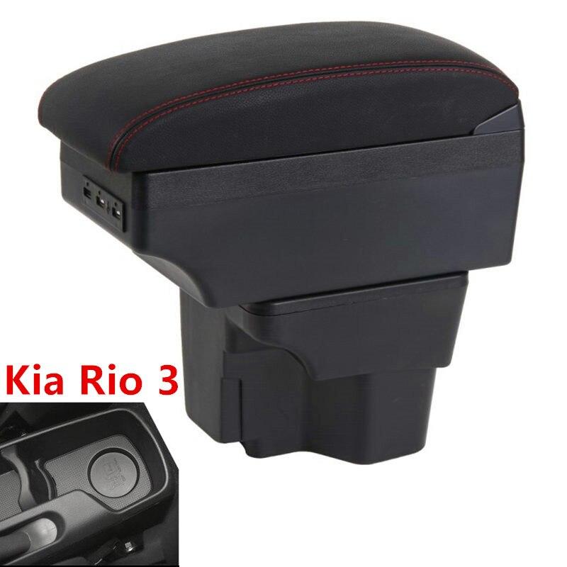 Für Russland KIA K2 Rio 3 Armlehne Box 2016 2012 2015 2014 2013 2012 Auto Lagerung USB Organizer Leder Auto tasse Halter Zubehör