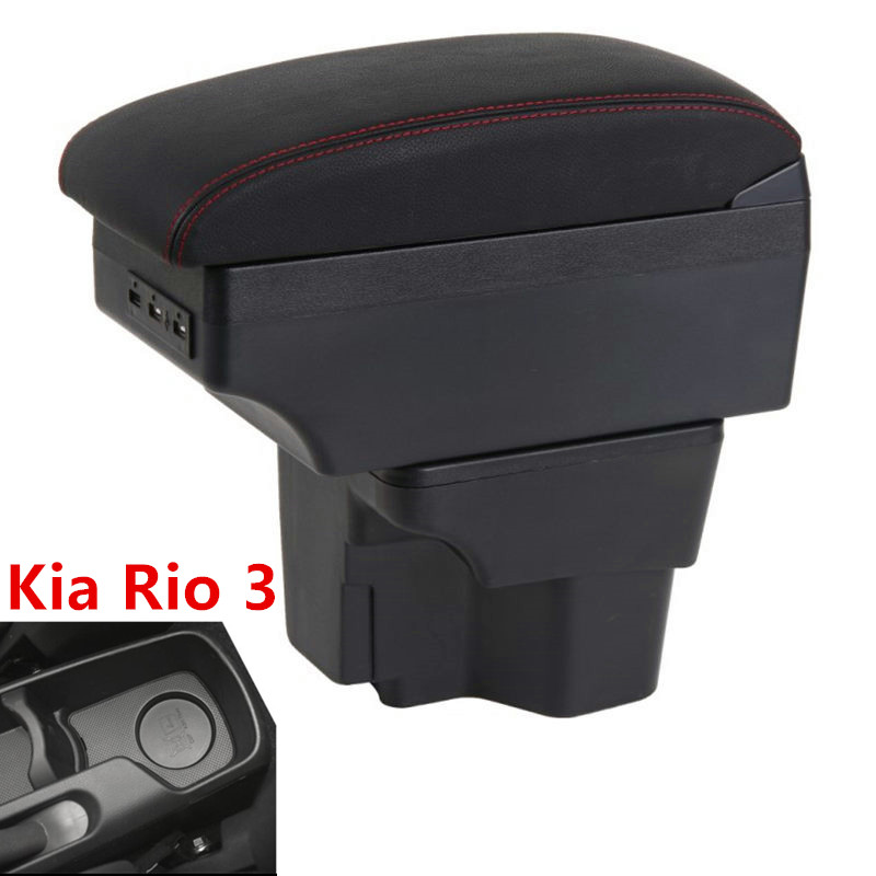 For Russia KIA K2 Rio 3 Armrest Box 2016 2012 2015 2014 2013 2012 Car Storage USB Organizer Leather Auto Cup Holder Accessories