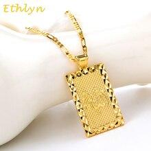 Ethlyn tótem religioso Unisex, Color dorado, joyas de á, Cuadrado de Oriente Medio, colgante de musulmán/árabe islámico, joyería P063