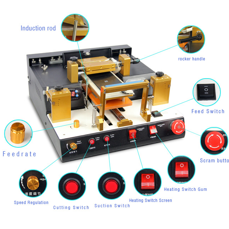TBK938 LCD Touch Screen Split Machine Automatic lcd separator with glue polarizer remove built in air vacuum pump ko semi automatic lcd separator machine for separating assembly split lcd ts ouch screen glas