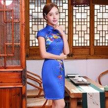 มาใหม่สตรีผ้าไหมCheongsamจีนแฟชั่นสไตล์การแต่งกายที่สวยงามบางQipaoรสเสื้อผ้าขนาดSml XL XXL F071720