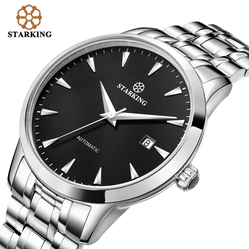 STARKING Original Marke Uhr Männer Automatische Selbst wind Edelstahl 5atm Wasserdicht Business Männer Armbanduhr Uhren AM0184