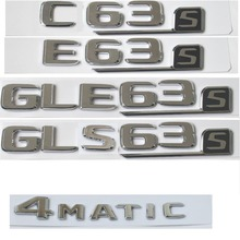 Flat Chrome Letters Number Trunk Emblem Emblems Badges for Mercedes Benz AMG C63 C63s E63s S63 S CLS63s GLE63s GLS63s 4MATIC