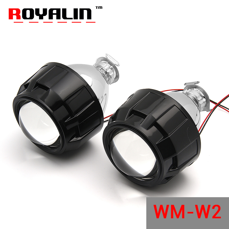 ROYALIN W2 Styling Car Bi-xenon 2.5'' Projector Lens LHD RHD Hi/lo Beam with Shrouds Black Sliver for H4 H7 Auto Halogen Lamps 1pc 2 5 hid xenon ultimate bi xenon projector lens parking car styling headlight diy lamp for h1bulb with shrouds h4 h7 socket