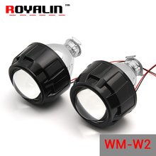"ROYALIN W2 Styling Car Bi-xenon 2.5"" Projector Lens LHD RHD Hi/lo Beam with Shrouds Black Sliver for H4 H7 Auto Halogen Lamps"