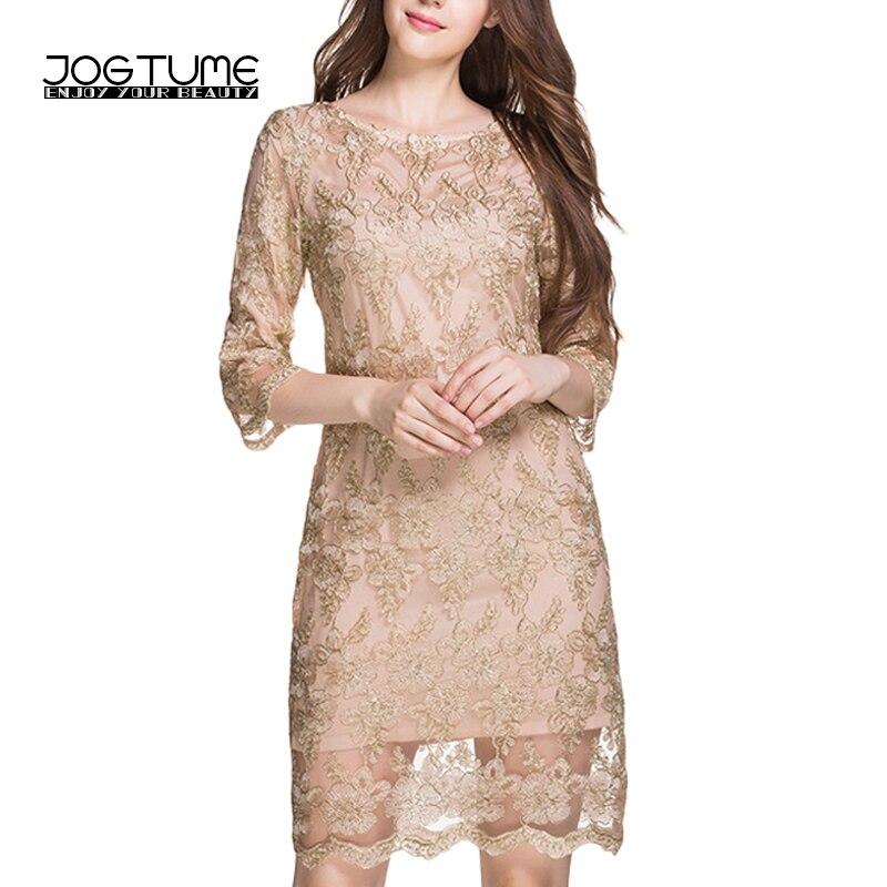 JOGTUME okouzlující dámské OL tužkové šaty s rukávy zlaté výšivky krajky ženy kancelářské šaty princezny nadměrně vysoké kvality