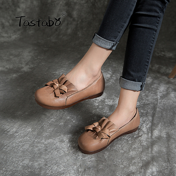 Tastabo Handmade craft ladies loafers Casual wild simple style Oxford soft bottom comfortable walking Low heel women's shoes