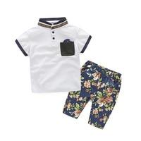 2018夏の新しい韓国少年の半袖tシャツ+印刷パンツ二組の子供の服3-7
