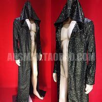 Новый бар для ночного клуба мужские черные золото супер блестящие вспышки Diamond Куртки мужской длинный Стиль плащ пальто персонализированны