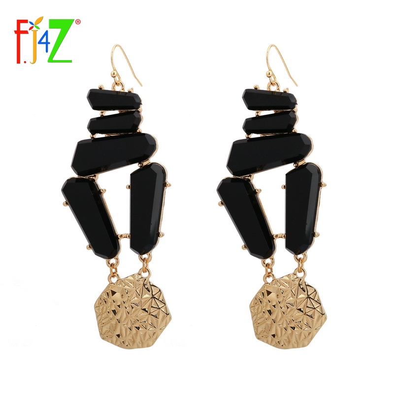 F.J4Z New Hot Stunning Luxury Style Women's Dangle Earrings Splendid Stylish Glass Earrings For Occasions Jewelry Decoration