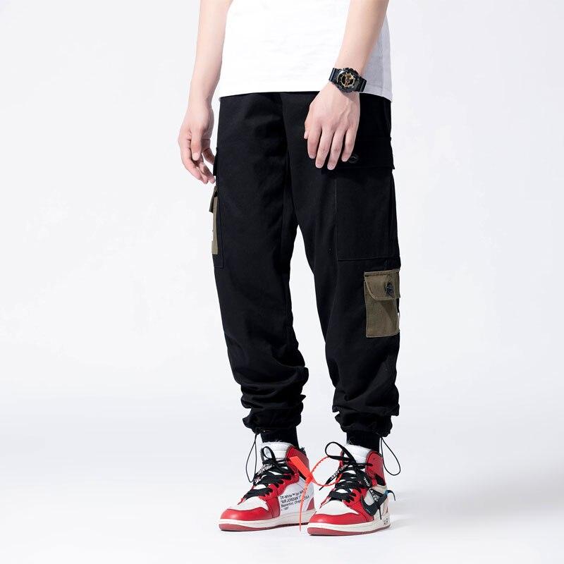 Japanese Style Fashion Men Jeans Multi Pockets Casual Cargo Pants Loose Fit Harem Trousers Streetwear Hip Hop Joggers Pants Men