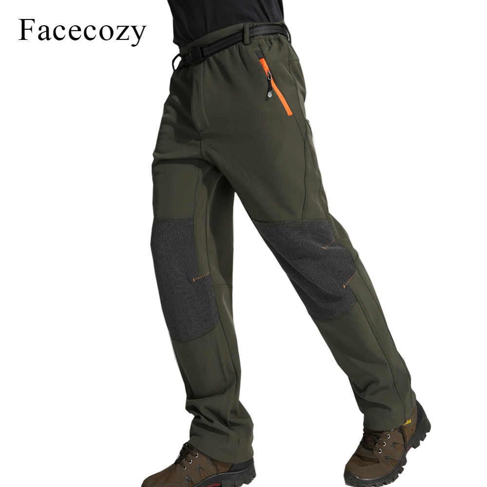 Facecozy الرجال الشتاء في الهواء الطلق الصوف التخييم سوفتشيل السراويل الذكور الدافئة للماء صامد للريح سراويل للتسلق لل تزلج تسلق Trouers