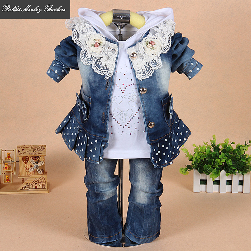 Baby girls clothing spring and autumn Denim clothing jacket Hooded shirt jeans three piece sets girls clothes suit newborn set baby girl clothes sets 2017 brand autumn fashion lace floral denim jacket t shirt jeans kids 3pcs suit infant baby clothing