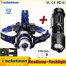 3800LM Head lamp LED Headlight T6 Head lights headlamps + Q5 Mini flashlight 2000lm Zoomable Zaklamp Taschenlampe