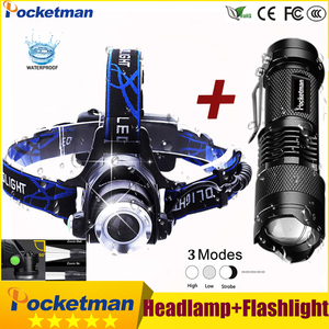 Image 1 - 3800LM Head lamp LED Headlight T6 Head lights headlamps + Q5 Mini flashlight 2000lm Zoomable Zaklamp Taschenlampe