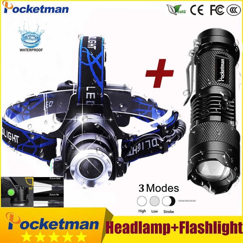 3800lm cabeça lâmpada led farol t6 cabeça luzes faróis + q5 mini lanterna 2000lm zoomable zaklamp taschenlampe