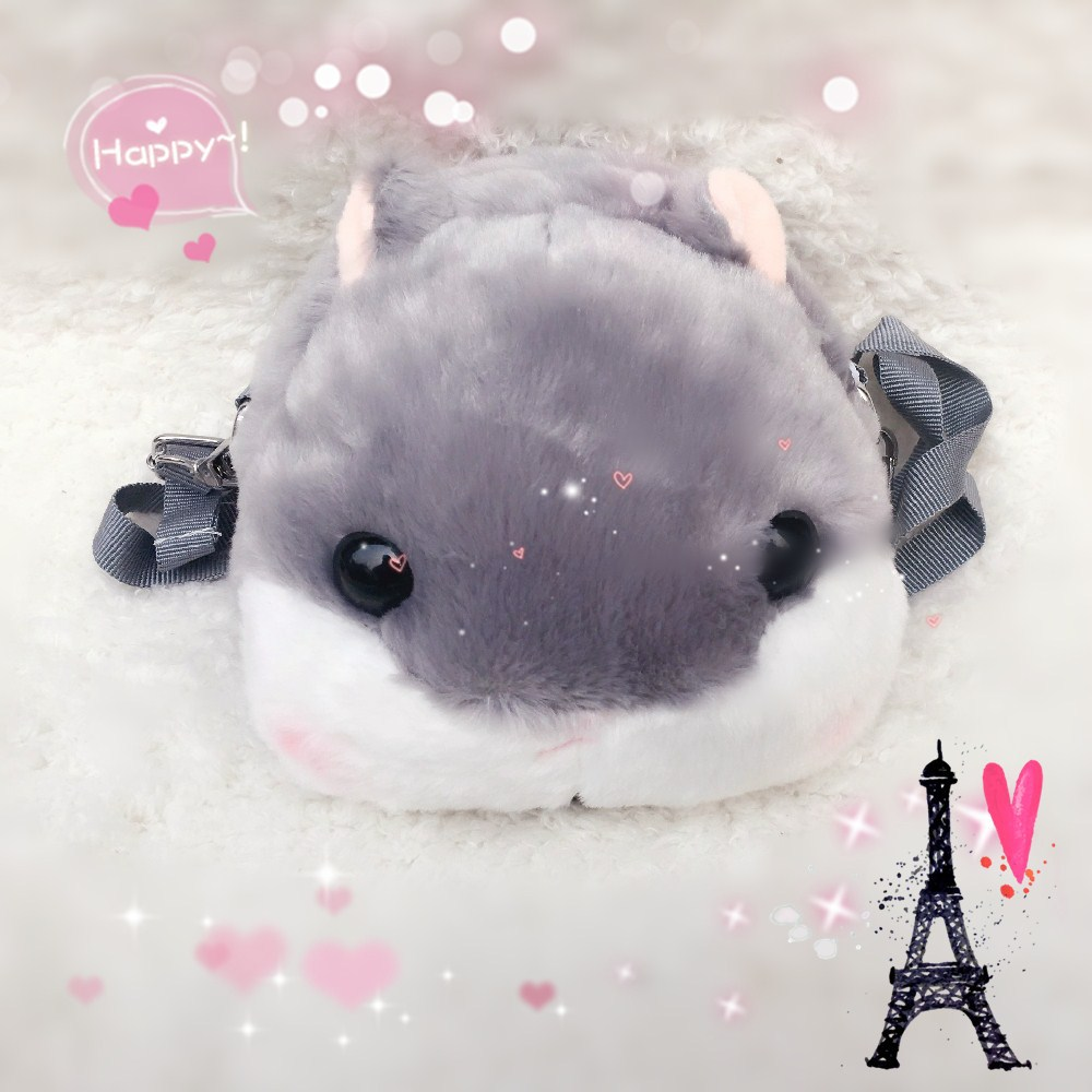 Japanese soft sister hamster head Hamouto! Umaru-chan buried messenger bag rabbit hair cute bag female Messenger bag