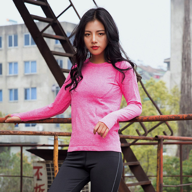 82ba4d11fba Women fitness top sport yoga Sport Gym Fitness Long Sleeve Quick Dry Shirt  Training Blouse Tops
