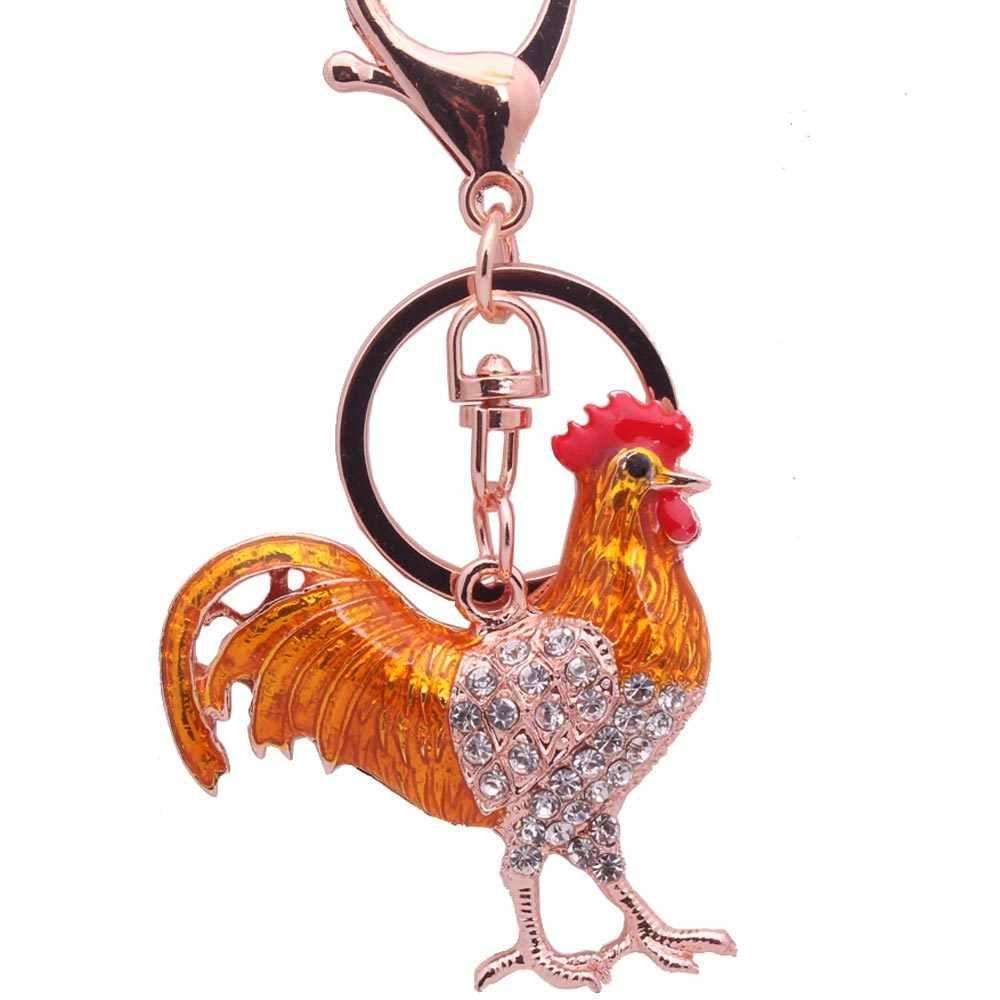 Sitaicery declaración acrílico pollo Gallo llavero anillos granja Animal joyería para mujeres adolescentes bolso colgantes