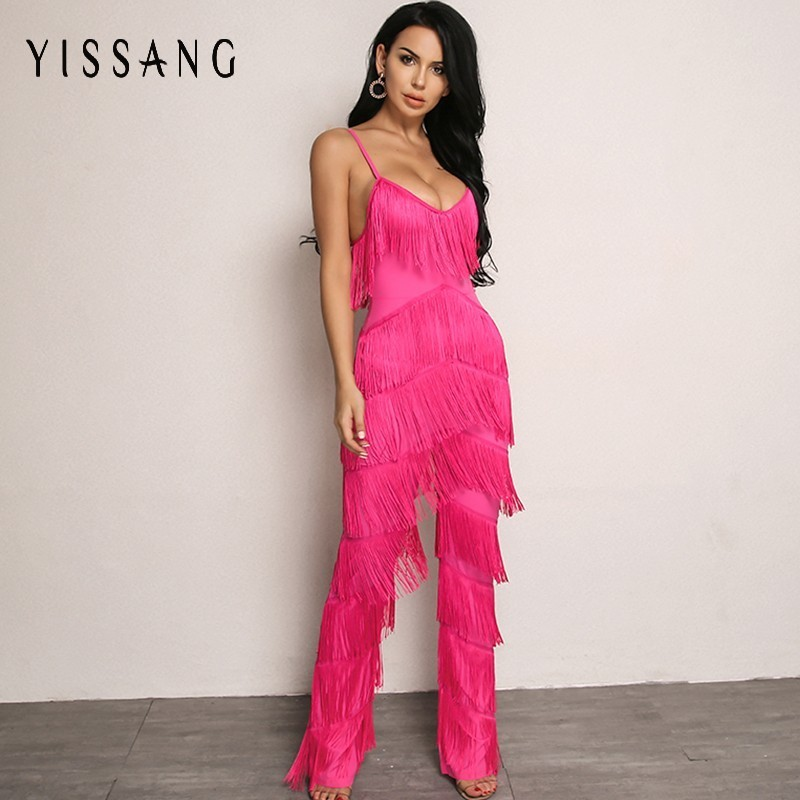 Yissang Rompers Womens   Jumpsuit   Red Long Backless   Jumpsuits   2018 Tassel Spaghetti Strap Summer Sexy Elegant Overalls For Women