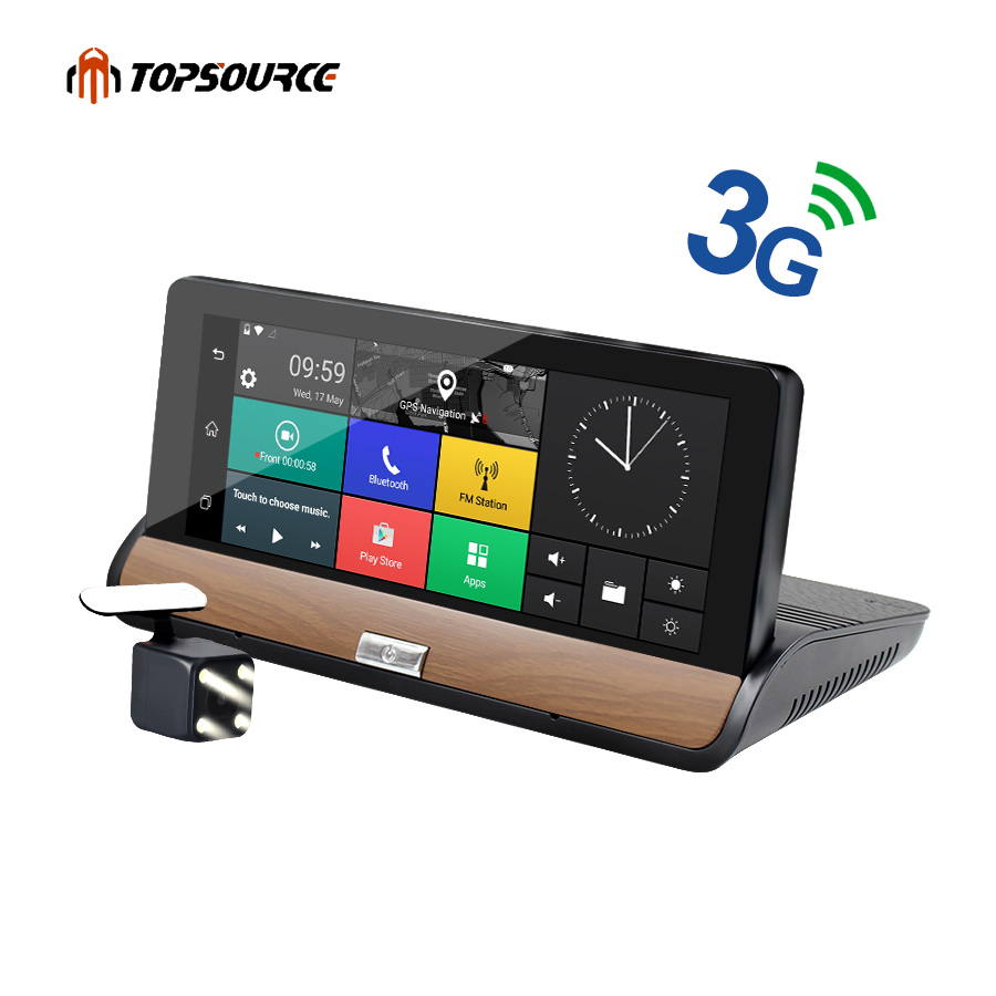 TOPSOURCE 3G 7 inch Center console Car GPS Navigation Android 5.0 BT Navigator DVR FHD 1080P Dual Camera Free Vehicle gps maps fashion 7 inch fhd 1080p android 5 0 3g