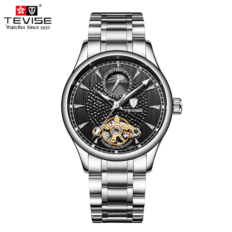 b939e1ca040 Tevise Top Brand Moon Phase Automatic Mechanical Watches Mens Tourbillon  Skeleton Watch Stainless Steel Self Wind Clock T808B