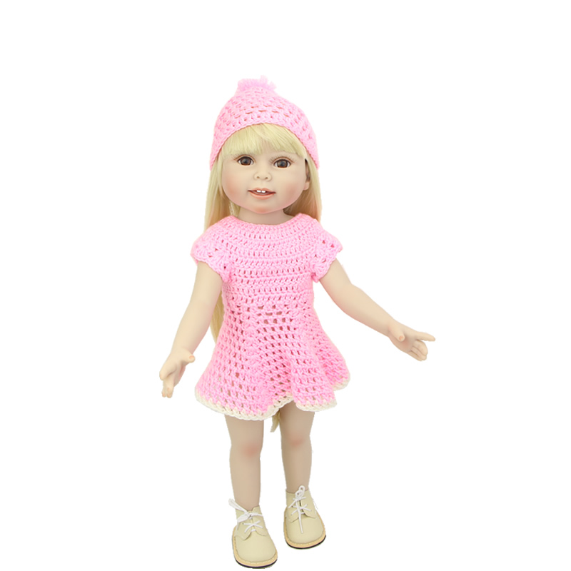 Fashion Dress 18 Inch American Baby Girl Full Body Vinyl Newborn Princess Girls Doll Toy With Brown Eyes Kids Birthday Xmas Gift  18 inch lovely american girl princess doll baby toy doll with fashion designed dress journey girl doll alexander doll