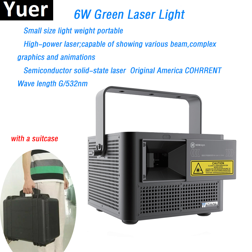 6W Green Laser Light High Power beam graphics animations effect green laser diode verde DMX512 for wedding bar Disco stage light