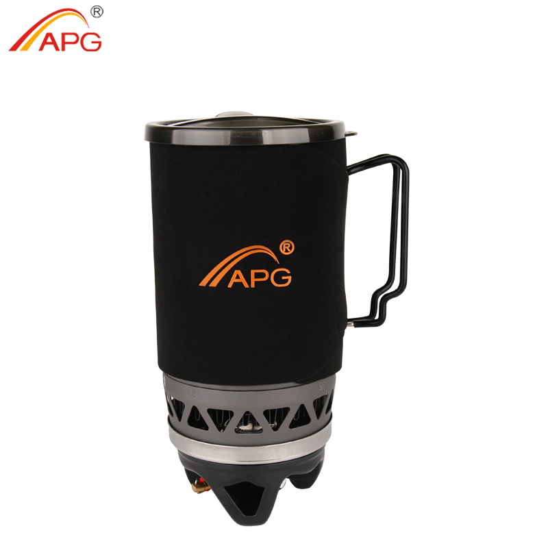 APG Portable 1400ml Cooking System Outdoor Hiking Camping Stove Heat Exchanger Pot Propane Gas Burners