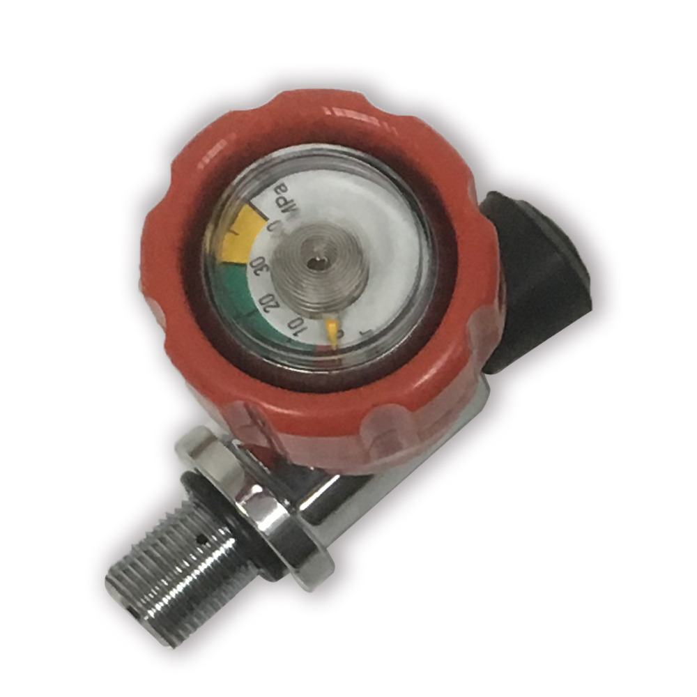 Safety Red Gauged Valve 300 bar 4500 PSI for Breathing High Pressure Carbon Fiber Tank for PCP Air Gun Hunting or Breathing