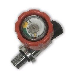 Válvula calibrada roja AC911 300bar 4500PSI para respirar tanque de fibra de carbono de alta presión para caza o respiración de pistola de aire PCP acecare