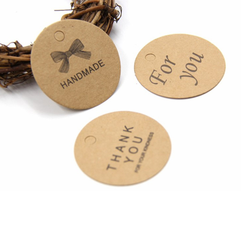 100Pcs Craft Paper Tags Letters Printed Label Luggage Wedding Party Note Hang Tags MYDING