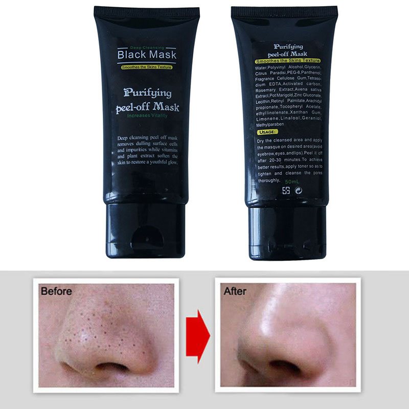 Big Promotion 50ml Professional Blackhead Remover Facial Masks Deep Cleansing Purifying Peel Off Black Mud Face Mask 5