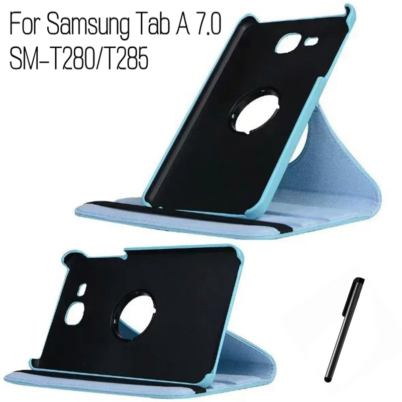 Top Quality 360 Degree Rotating Stand PU Leather Cover for Samsung Galaxy Tab A T280 T285 7 inch Tablet Case+Free Stylus Pen lichee pattern flip stand pu leather case for samsung galaxy tab a 7 0 2016 t280 t285 covers for samsung tab a 7 0 t280 t285