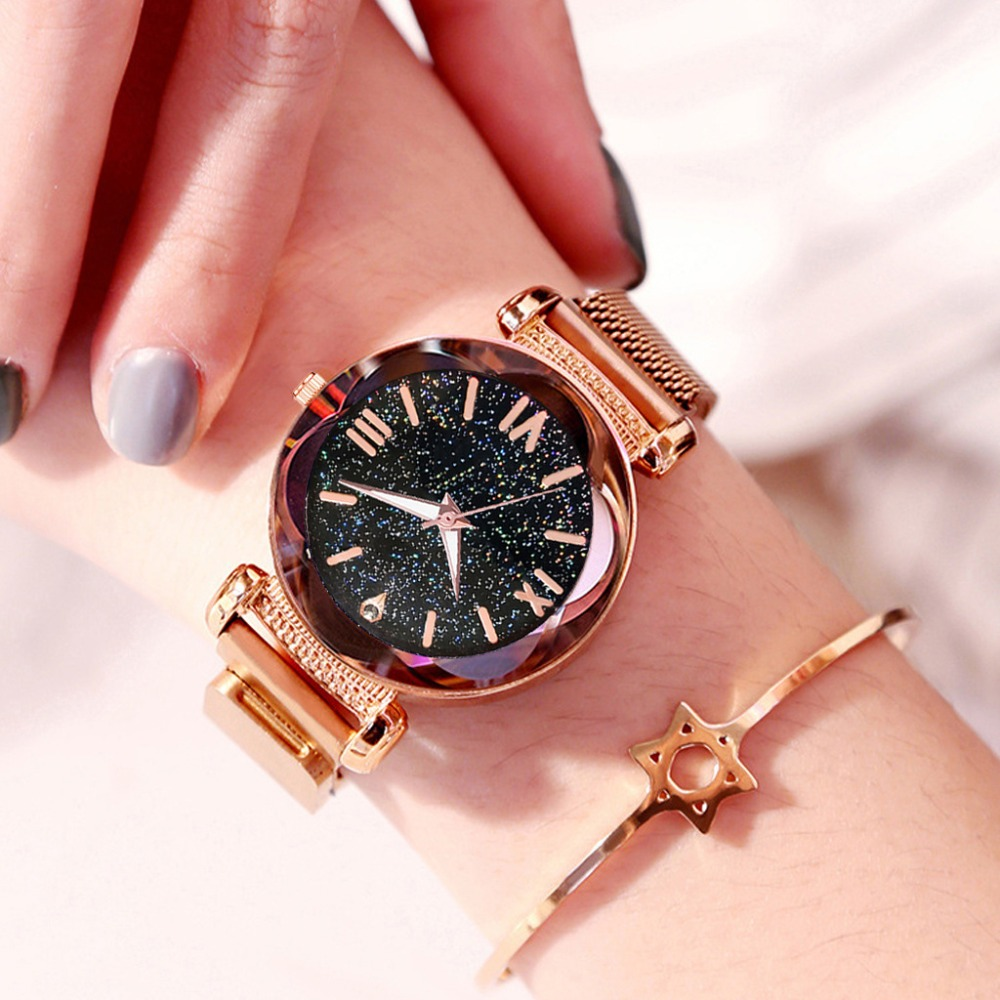 Hot Fashion Mesh Magnetic Buckle Strap Women Watches Luxury Starry Sky Design Ladies Wristwatches Rose Gold Female Quartz Watch
