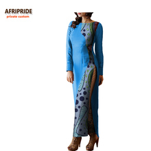 Womens Clothing Accessories - World Apparel - 2018 Spring&autumn African Casual Women Dress AFRIPRIDE Wrist Sleeve Ankle-length Side-split Straight Cheongs For Women A7225151