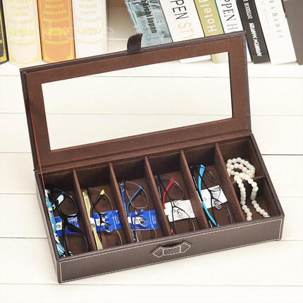 Leather Glasses Storage Box With Opening Window Sunglasses Storage Case  Multicellular Glasses Collection Box  In Storage Boxes U0026 Bins From Home U0026  Garden On ...