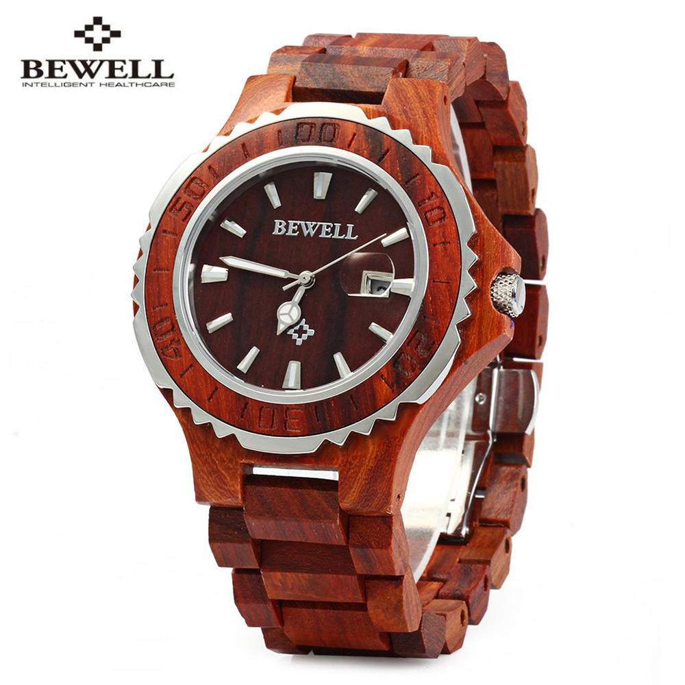 BEWELL 2017 Luxury Brand Wooden Men Quartz Watch with Luminous Hands Calendar Water Resistance Analog Wrist watches reloj hombre bewell wooden quartz watch men women