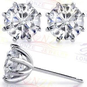 LASAMERO Vintage 8-Prong Stud Earrings 925 Silver Earrings Total 2 carat NSCD Simulated Diamond Stud Earrings Plated Gold
