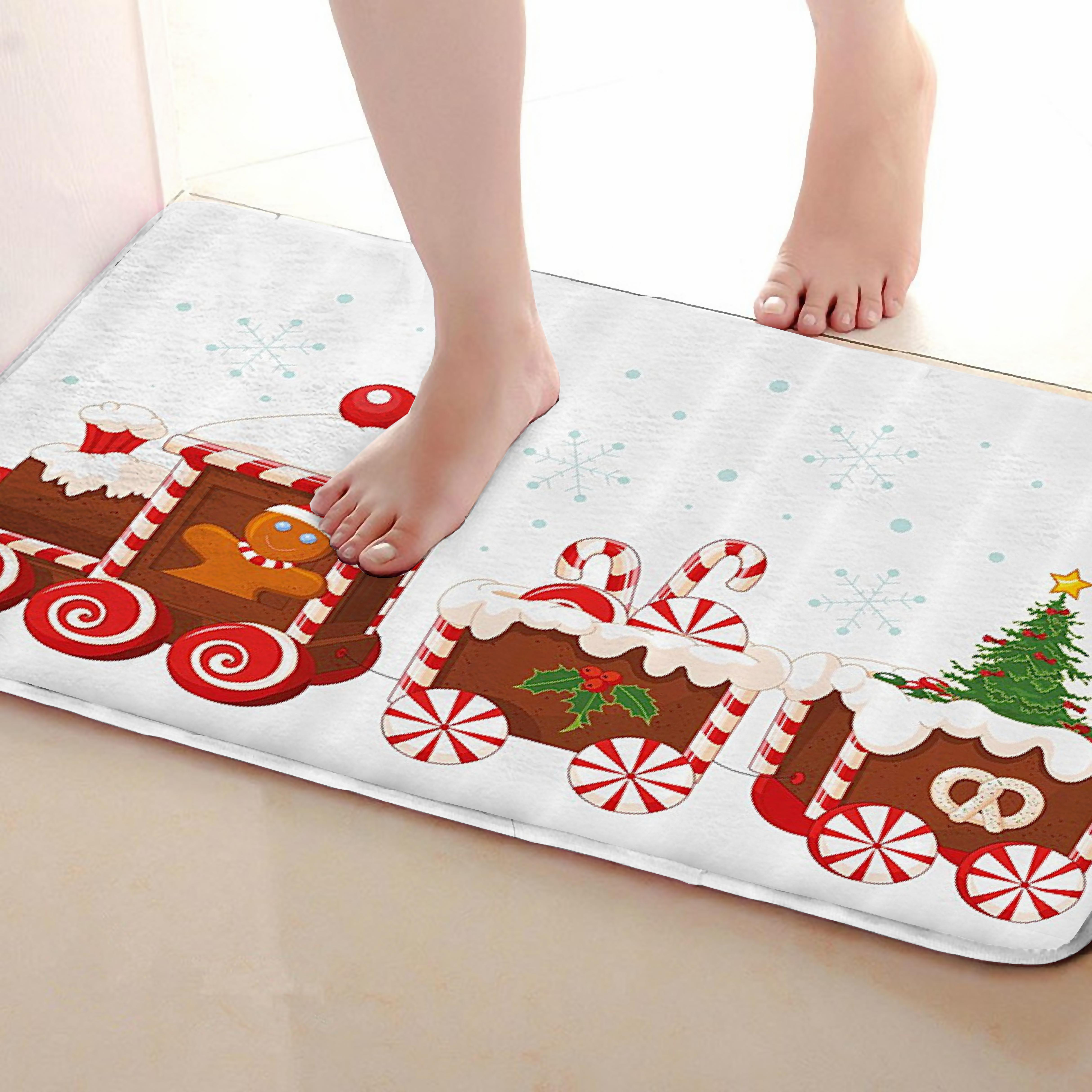Christmas Style Bathroom Mat,Funny Anti skid Bath Mat,Shower Curtains Accessories,Matching Your Shower Curtain