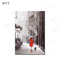 MYT Free Shipping Red Dress Girl Oil Painting No Frame Wall Art Painting City Scenery Wall Art Canvas Hot Selling For Decor