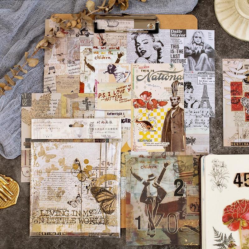 15pcs/pack Retro Gilding Journal Decorative Stickers Scrapbooking Stick Label Diary Stationery Album Vintage Flower Stickers